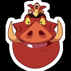The Lion King Timon Rides Pumbaa Sticker