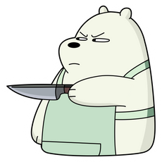 We Bare Bears Ice Bear With Knife Sticker