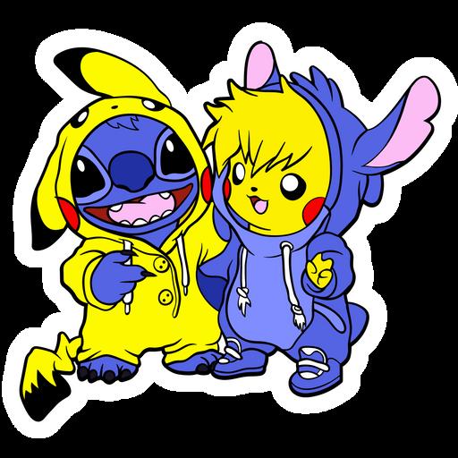 Stitch and Pikachu Costumes Sticker