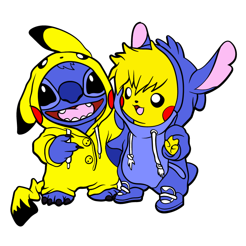 Stitch and Pikachu Costumes Sticker