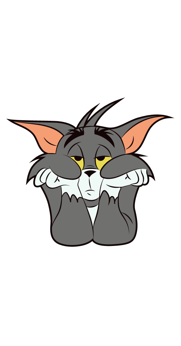 Tom and Jerry Bored Tom Sticker