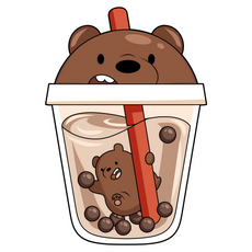 We Bare Bears Grizz in Boba Tea Sticker