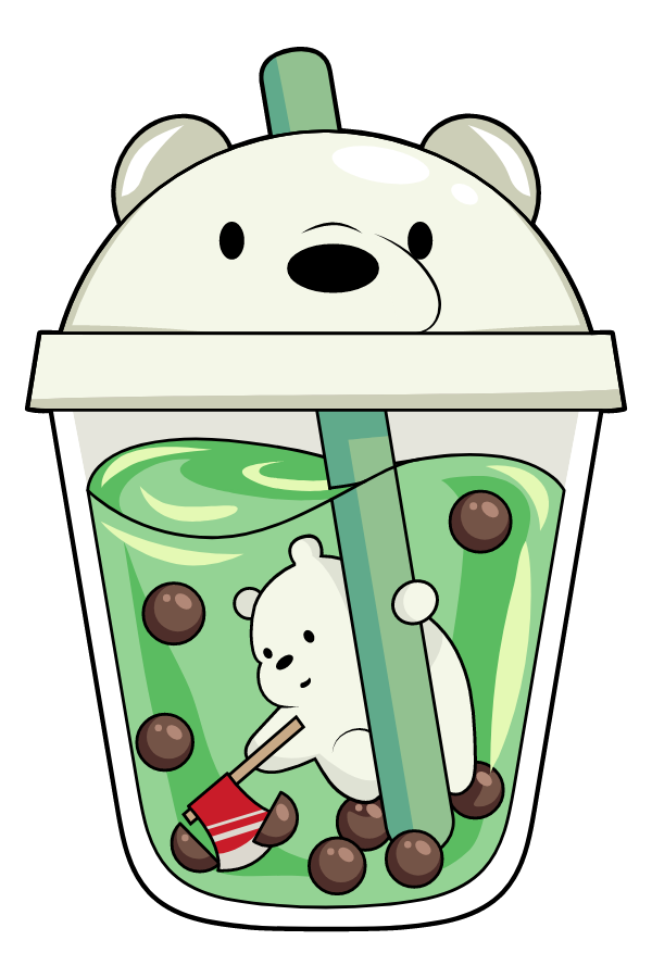 We Bare Bears Ice Bear in Boba Tea Sticker