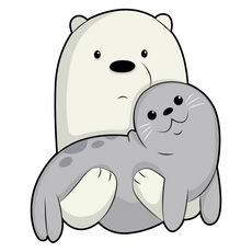 We Bare Bears Ice Bear and Seal Sticker