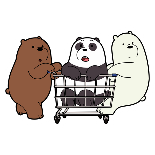We Bare Bears with a Supermarket Trolley Sticker