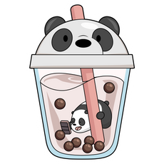 We Bare Bears Panda in Boba Drink Sticker