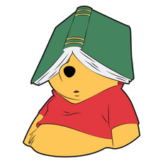 Winnie The Pooh with Book Sticker
