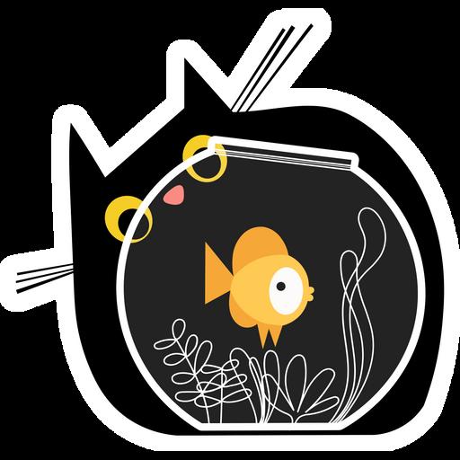 Black Cat and Goldfish Sticker