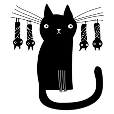 Black Cat with Bats Sticker