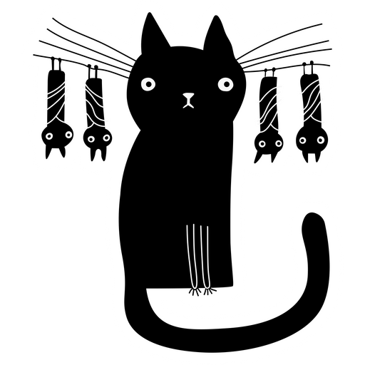 Black Cat with Bats Sticker