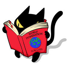 Black Cat Reading World Domination Book Sticker