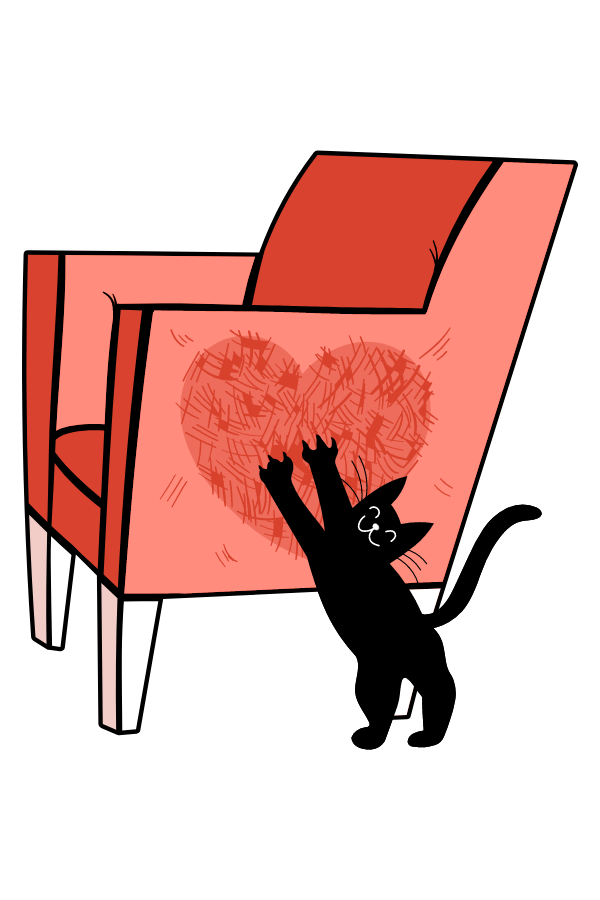 Black Cat Scratched Heart Sticker