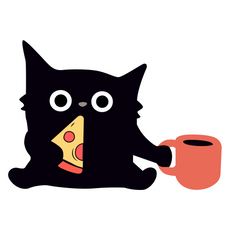 Black Cat with Pizza Sticker