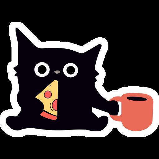 Black Cat with Pizza Sticker