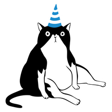 Cat in a Birthday Hat Sticker