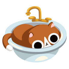 Cat In Sink Sticker