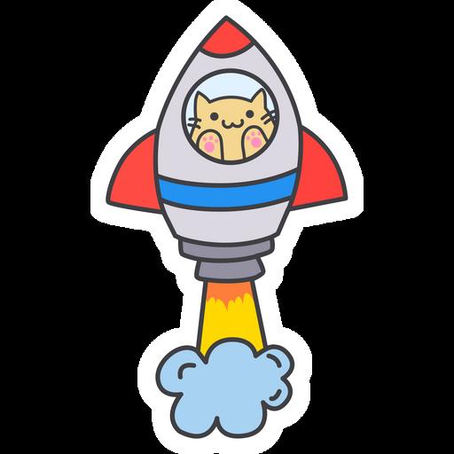 Cute Cat in the Rocket Sticker