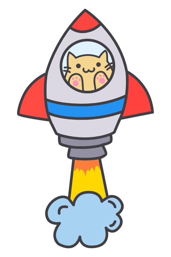 Cute Cat in the Rocket Sticker