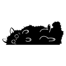 Fluffy Black Cat Sticker