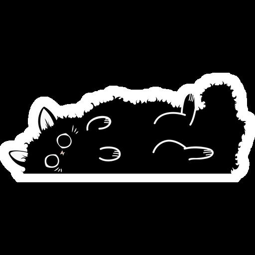 Fluffy Black Cat Sticker