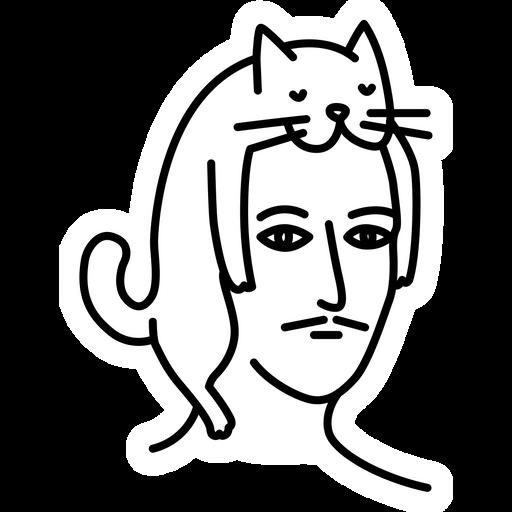 Man in Cat Hat Sticker