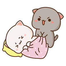 Mochi Mochi Peach Cat and Friend Wake Up Sticker