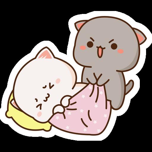 Mochi Mochi Peach Cat and Friend Wake Up Sticker