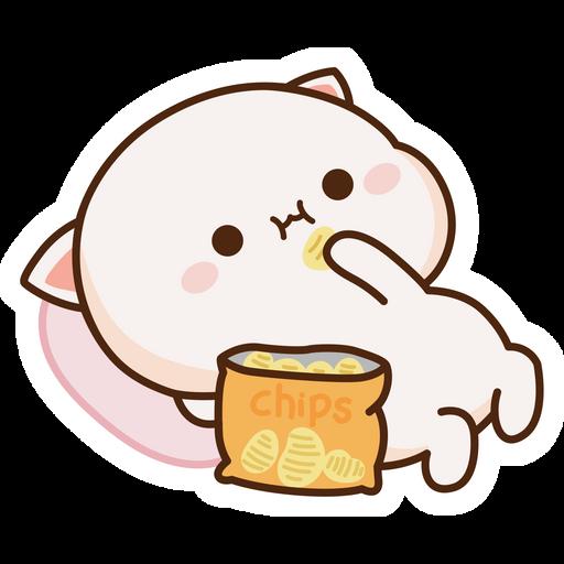 Mochi Mochi Peach Cat with Chips Sticker