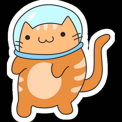 Red Cat Astronaut Sticker