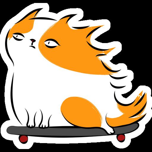 Skateboard Redhead Cat Sticker