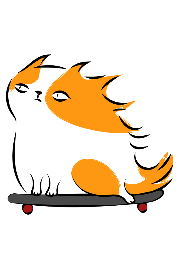 Skateboard Redhead Cat Sticker