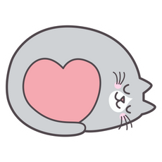 Sleeping Cat with Love Heart Sticker