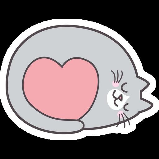 Sleeping Cat with Love Heart Sticker