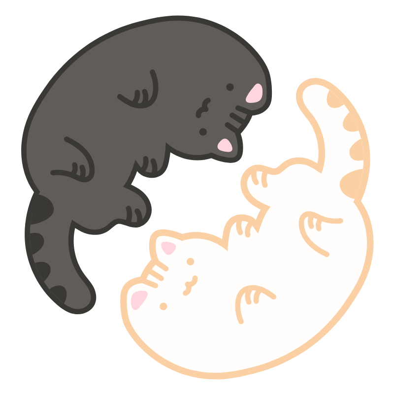 Cute Yin Yang Kitties Sticker