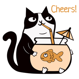 Cheers Cat with Fishbowl Cocktail Sticker