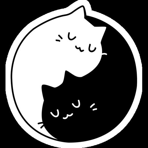 Yin and Yang Cats Sticker