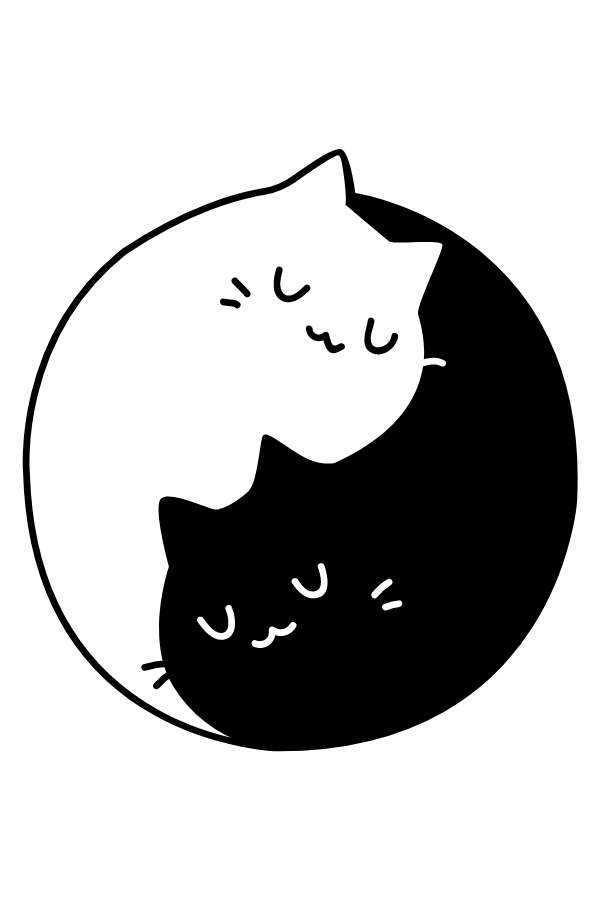Yin and Yang Cats Sticker