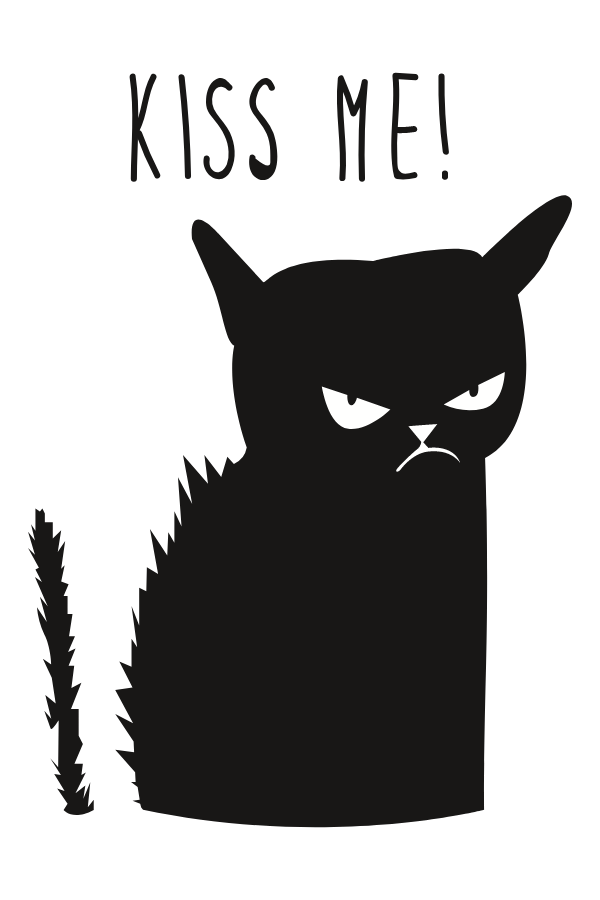 Black Cat Kiss Me Sticker