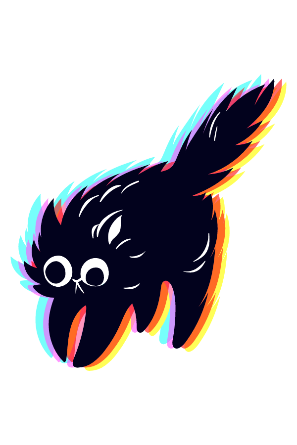 Shocked Black Cat Sticker