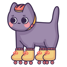 Cute Cat Roller Sticker