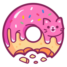 Pink Donut Glaze Cat Sticker