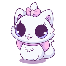 Lovely White Kitty Sticker