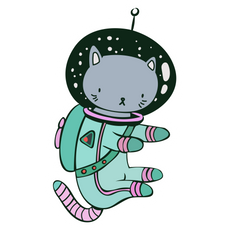 Grey Cat in Space Sticker
