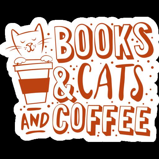 Books & Cats & Coffee Sticker