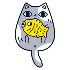 Adorable Cat with Fish Sticker