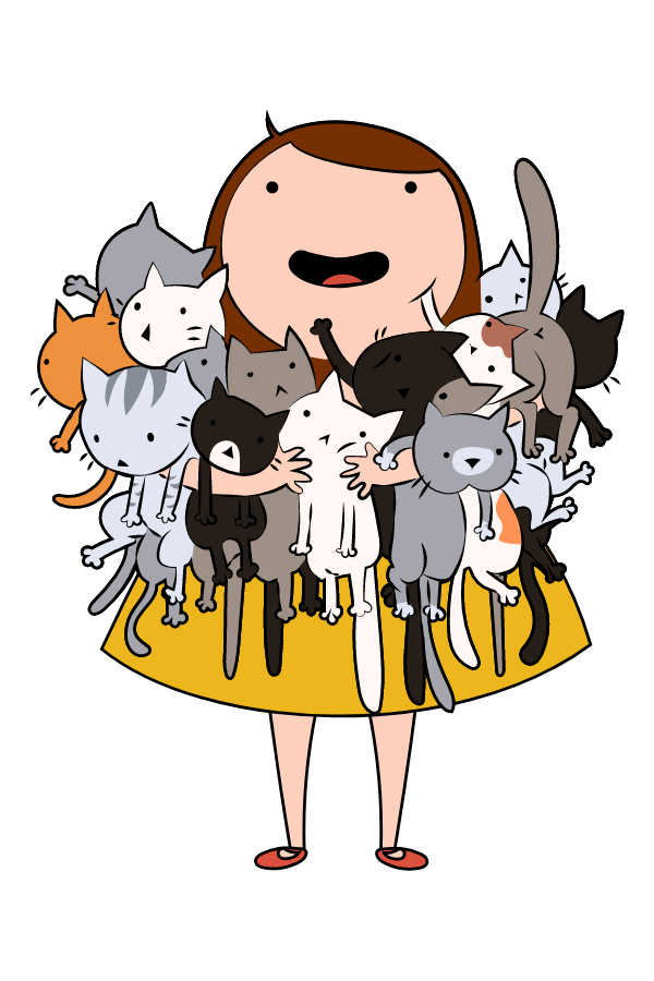 Girl and a Lot of Cats Sticker