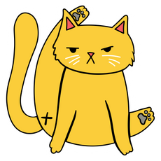Serious Yellow Cat Sticker