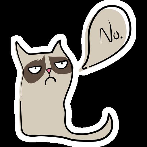 Hand-Drawn Grumpy Cat Says No Sticker