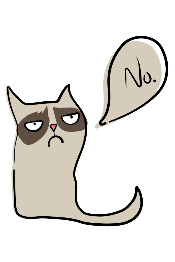 Hand-Drawn Grumpy Cat Says No Sticker