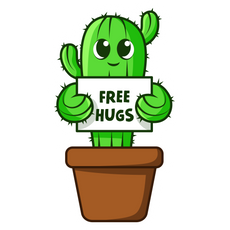 Cute Cactus Free Hugs Sticker